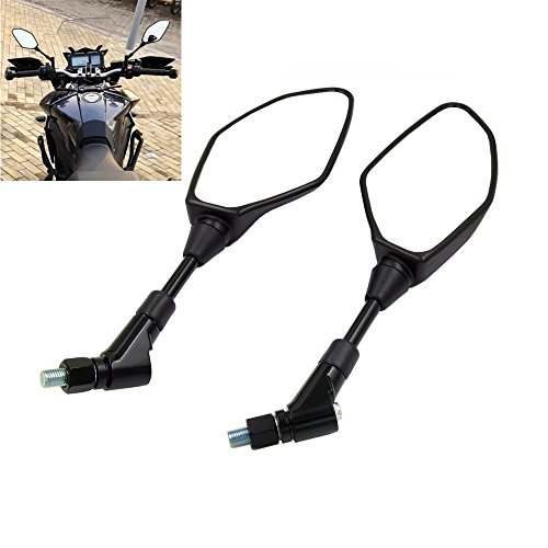(Universal Motorcycle Mirror Rearview Mirror, For Yamaha Suzuki Honda Kawasaki Aprilia BMW Ducati, Widely suitable - With 8mm 10mm clockwise/reverse threaded)