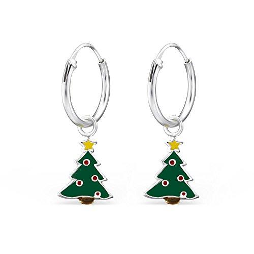 Hypoallergenic Sterling Silver Christmas Tree Charm Dangle Hoop Earrings for Kids (Nickel Free) (Silver Tree Dangle Earrings Christmas)