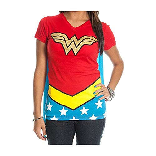 DC Comics Wonder Woman Glitter Juniors Red V-Neck Tee -