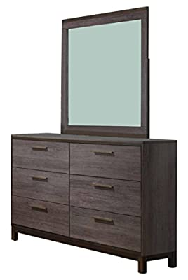 Kings Brand Antique Grey Wood Bedroom Set. Bed, Dresser, Mirror, Chest & 2 Night Stands