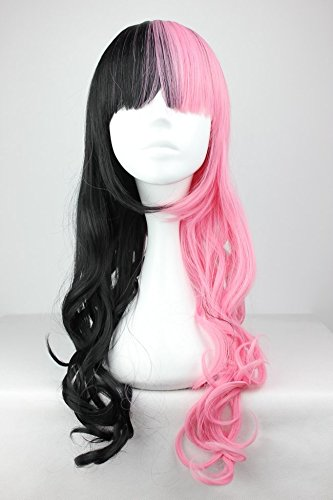 JYWIGS 28'' Pink and Black Wig Long Wavy Cosplay Hair Half Pink Half Black Neat Bangs Party Costume 28'' Rose Network Christmas Gift (57 Days Until Halloween)