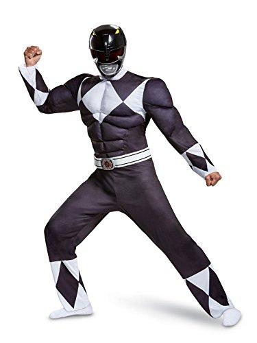 Disguise Men's Black Ranger Classic Muscle Adult Costume, L/XL (42-46)