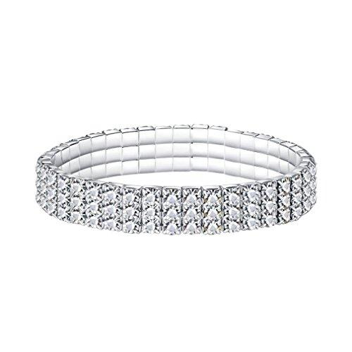 YIYIPRINCESS Rhinestone Crystal Stretch Bling Bracelet Sparkle Wedding Jewelry 1 to 6 Row for Choose (3 Row)