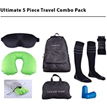 TRAVEL IN TOTAL COMFORT! 5 PIECE ULTIMATE TRAVEL & FLIGHT KIT! Compression Socks For Plane, Inflatable Travel Pillow, Tempurpedic Eye Mask, Foldable Backpack, and Ear Plugs. (LG/XLG Socks)
