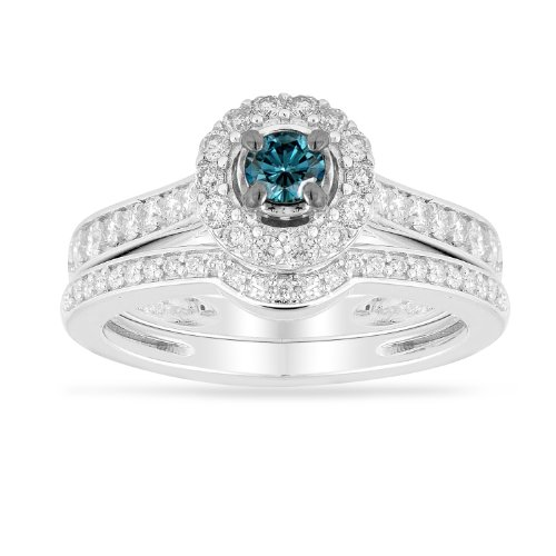 14k White Gold Blue Diamond Center with Diamonds Bridal Ring Set (1/3 cttw I-J Color, I1-I2 Clarity), Size 7