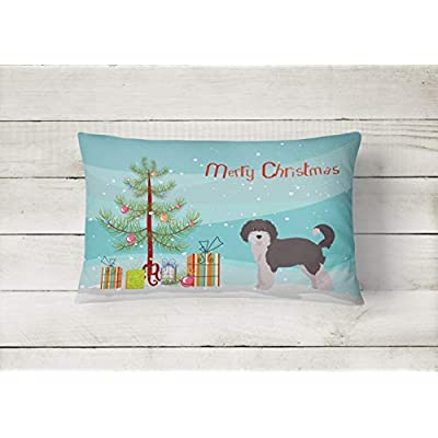 Caroline's Treasures CK3800PW1216 Aussiedoodle #1 Christmas Tree Canvas Fabric Decorative Pillow, 12H x16W, Multicolor : Garden & Outdoor
