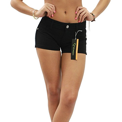 5 Pocket Design (JW Maxx Soft Stretch Brazilian Moleton 5 Pocket Design Casual Shorts (XL, Black))