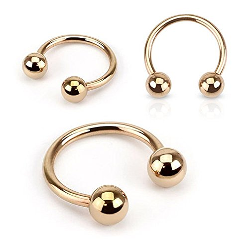 16G, 14G Rose Gold IP Over 316L Surgical Steel Horseshoe Circular Barbell Ring - Sold Individually (16G, L: 5/16