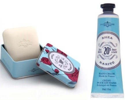 La Chatelaine 20% Shea Butter Hand Cream + French Soap in a Tin Set, Shea Scent, Moisturizing, Nourishing, Made in France, Travel Size Hand Lotion 1 fl oz, Natural Triple Milled Bar (100 - Travel Tin Scents