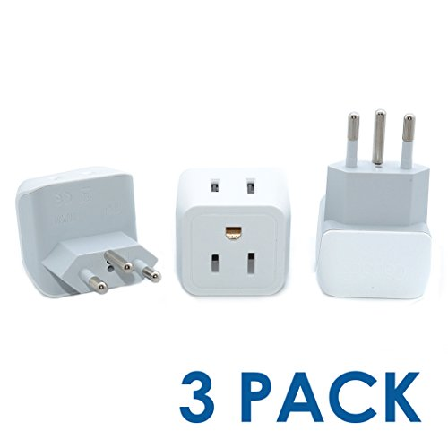 Ceptics USA to Switzerland Travel Adapter Plug - Type J (3 Pack) - Dual Inputs - Ultra Compact (Does Not Convert Voltage)