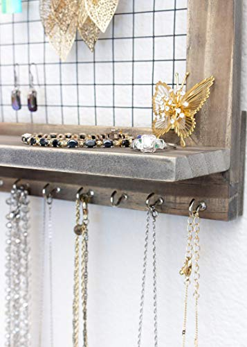 SoCal Buttercup Rustic Brown Jewelry Organizer with Removable Bracelet Rod from Wooden Wall Mounted Holder for Earrings Necklaces Bracelets and Other Accessories by SoCal Buttercup (Image #4)