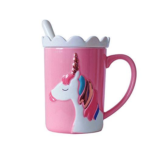 - Kerr's Choice UNICORN Ceramic Coffee Mug/Tea Mug with Lid and Spoon for Girls and Women, Novelty Mug ❤Unicorn Gift, Mug Gift❤ (pink)