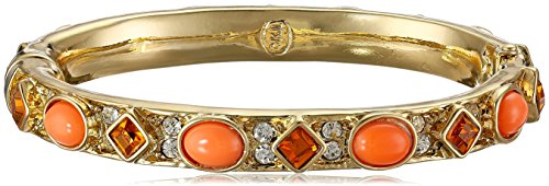 [Kenneth Jay Lane Topaz and Coral Cabochons Bracelet] (Kenneth Jay Lane Coral)