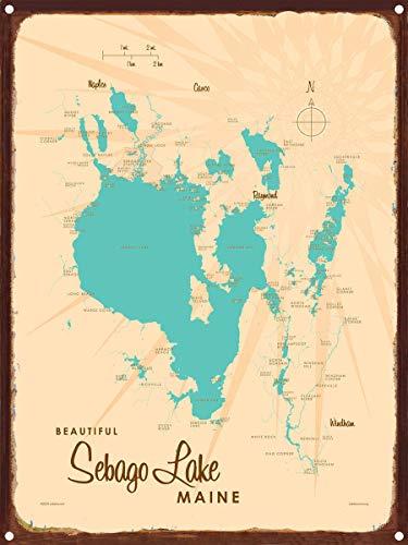 Sebago Lake Maine Vintage-Style Map Rustic Metal Art Print by Lakebound (9