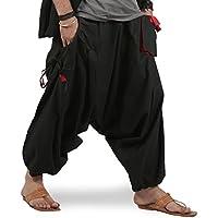 THS de los hombres Boho Hippie Baggy algodón Amplia Pierna harén pantalones–Drop bolsillos estilo