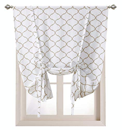 Regal Home Collections Shabby Lattice Kitchen Curtains - Assorted Colors & Sizes (Hunter Linen, Tie Up Shade) ()