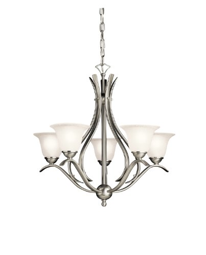 Kichler 2019NI, Dover Glass 1 Tier Chandelier Lighting, 4 Light, 240 Total Watts, Brushed Nickel