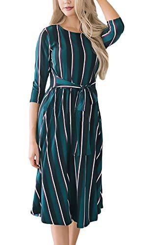 Vintage Ragazza Abiti Moda A Rotondo Autunno Estivi Ad Stripe Verde Vestiti  Collo Elegante Ginocchio 4 Vestito Manica Donna ... 646f8687d6d