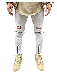 Men's Ripped Slim Fit Jeans Denim Pants with Broken Holes