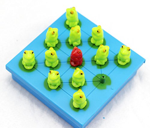 WISDOMTOY Plastic Animal Frog Peg-Solitaire Jumping Board Game Educational Toy for Kids and Adults ()