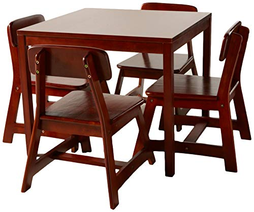 (Lipper International 585C Child's Square Table and 4 Chair Set, Cherry Finish)