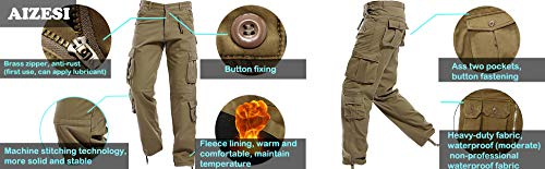 Inverno In Camo Mimetici Khaki Cargo Uomo 022 W38 Pantaloni Khaki Aizesi Worm Uomo Da Pantaloni Regular 022 Caldo Pile Spesso Foderato EqvSXxCw