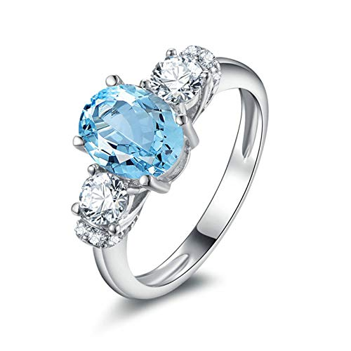 ANAZOZ Oval Cut 7X9MM Blue Topaz Women Rings S925 Sterling Silver Dainty Anniversary Wedding Band Ring Size 11 Created Citrine Stainless Steel Ring