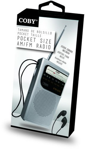 Coby CR-203-SLV Pocket Size AM/FM Radio, Silver
