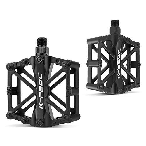 GPMTER Bike Pedals for Mountain Road BMX Bicycle with 16 Anti-Skid Pins -Universal Lightweight Aluminum Alloy Platform Pedal - Universal 9/16' for MTB Travel Cycle-Cross Bikes etc