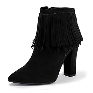 IDIFU Women's BESS Tassels Chunky High Heel Ankle Booties Pointed Toe Short Boots with Side Zipper(5, Black Suede)