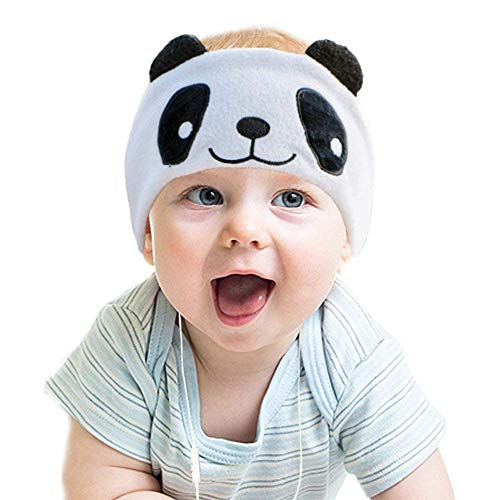 Kids Headphones, Volume Limiting with Ultra Thin Adjustable Speakers Soft Children Fleece Headband Toddler Headphones for Home and Travel - Panda