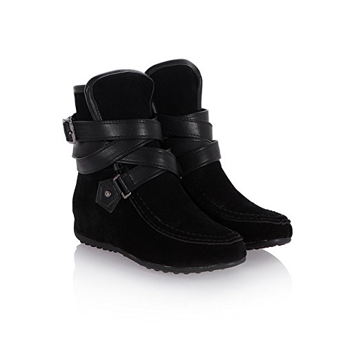 Plush Black VogueZone009 Heighten Round Solid Boots PU Heels Womens Low Closed Inside Toe Short with ww8r1q