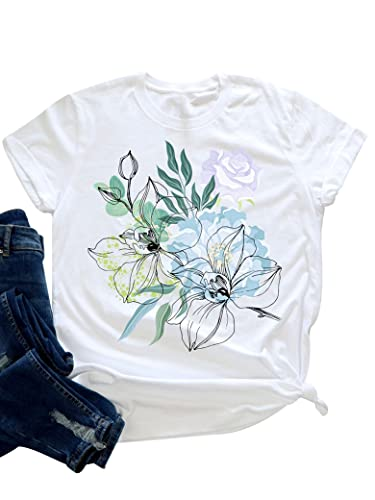 Epuyaito Women Casual Cute Colorful Floral Print Crew Neck Short Sleeve T-Shirt Top White