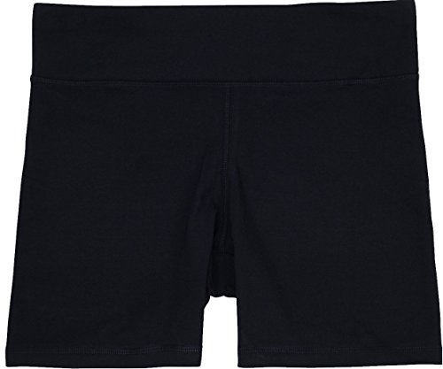 Megan Womens Bike Short, Gym & Yoga Short, Wide Waistband, Flexible Movement, Black, XL ()