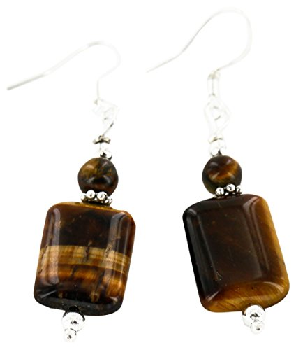 Native-Bay Authentic Made by Charlene Little Navajo Silver Hooks Natural Tigers Eye American Earrings