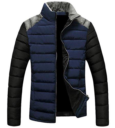 EKU Jacket Blue US Men's Coat Warm Stand Down Collar Fashion S Up Zipper RRqrpx6