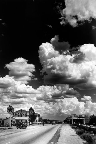 Route 66 Texaco Gas Station And Clouds 36X24 Photograph Art Print Poster Wall D Cor Retro Travel Black And White