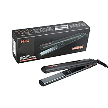 MHU Professional 1 Inch Keratin Ion Flat Iron Tourmaline Ceramic Hair Straightener Instant Heat Up Auto Shut-Off Adjustable Temperature With LED Display Black 285 F-450 F
