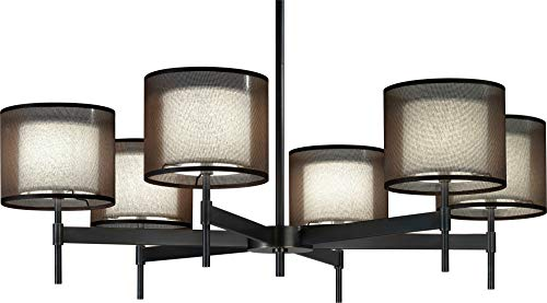 (Robert Abbey Z2188 Chandeliers with Bronze Fabric Inner and Ascot White Outer Shades, Deep Patina Bronze Finish)