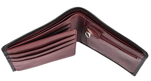 Zip Wallet Red Bifold Coin Smooth Claret Black Leather Dents Mens ZnwqfOfB