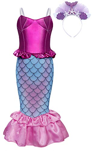 AmzBarley Little Mermaid Costume Dress for Girls Birthday Theme Party Princess Ariel Fancy Dress up School Show Cosplay Role Play Holiday Outfit with Headband Size 8(6-7Years) -