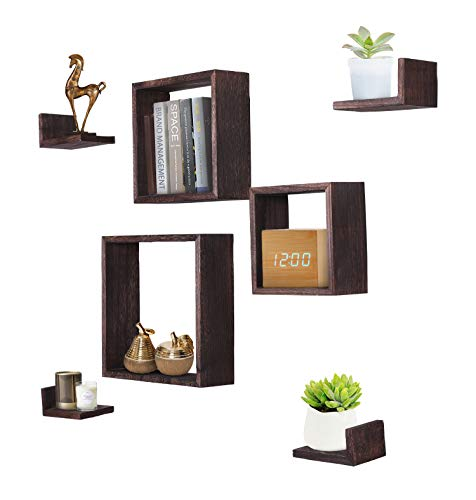 Comfify Rustic Wall Mounted Square Shaped Floating Shelves – Set of 7 – 3 Square Shelves and 4 L-Shaped Rustic Shelves – Screws and Anchors Included – Rustic Wall Décor - Torched Brown ()