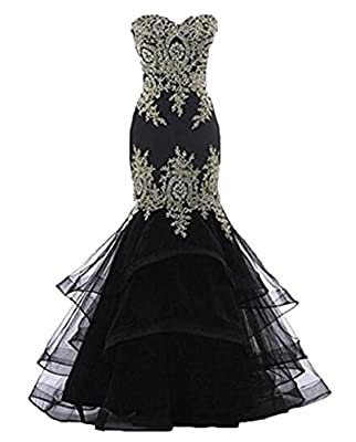 Dydsz Women's Mermaid Evening Party Dresses Long Prom Dress Maxi Appliques D219