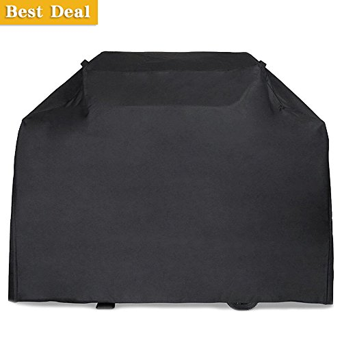 Gas Grill Cover, 64 inch 600D Heavy Duty Waterproof BBQ Grill Cover for Weber, Holland, Jenn Air, Brinkmann and Char Broil -Black