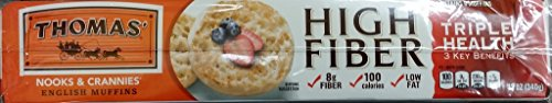 - Thomas High Fiber English Muffins 12 Oz (Pack of 2)