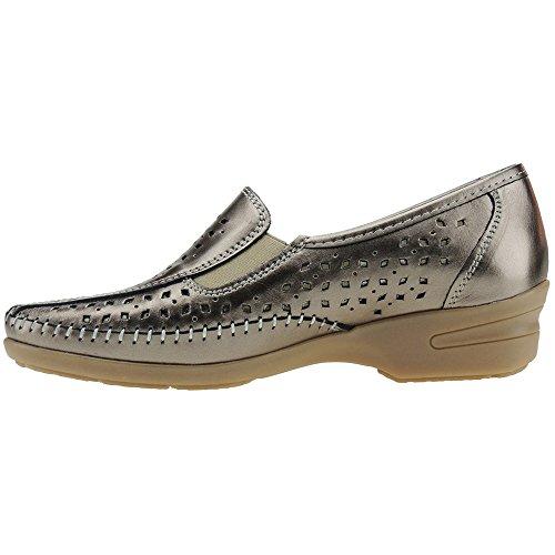 SAKUT - Zapato Comodón En Piel Calado Y Cuña De 4CM - Modelo D036.2 BRONCE