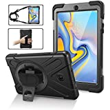Galaxy Tab A 8.0 Case 2018 Case,TSQ Heavy Duty Drop Shock Proof Rugged Protective Case Cover For Kids With 360 Stand,Hand Strap&Shoulder Strap,Compatible With Samsung Galaxy Tablet A 8.0 SM-T387 Black