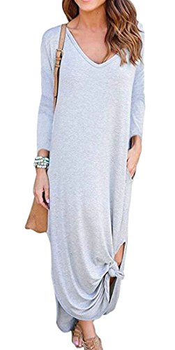 Loose Sleeve Gray Maxi Casual Side Neck Domple Pockets Long Women's with Slit Dress V FqEZ6w