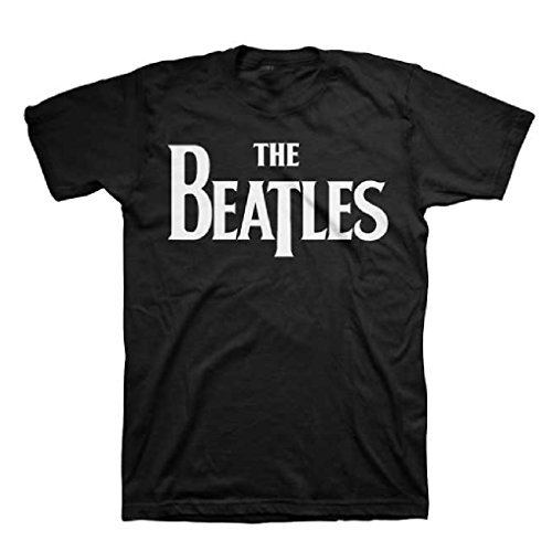 The Beatles Solid White Logo Men's Black T-Shirt (2X) ()