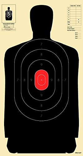 - Official B-34 Target, 25 Yard Police Pistol Silhouette Target, Reduced from 50 Yard B-27 (Red, 100)